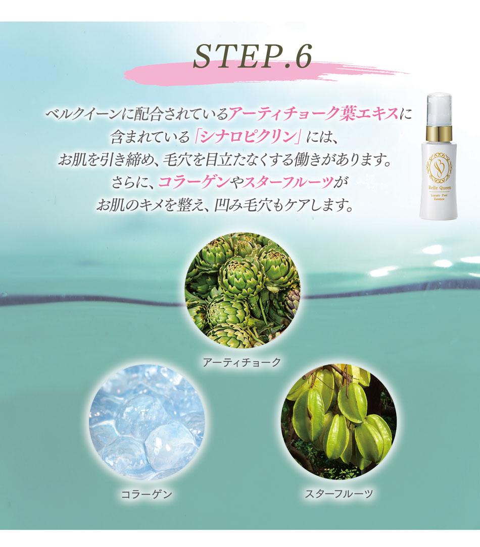 STEP6:ベルクイーンに配合されているアーティチョーク葉エキスに含まれている「シナロピクリン」にはお肌を引き締め、毛穴を目立たなくする働きがあります。さらにコラーゲンやスターフルーツエキスがお肌のキメを整え、凹み毛穴もケアします。